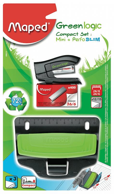 Furador, agrafador e recarga Compact Set Green Logic_ref 898210-cópia